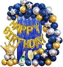 Birthday Basket, Blue Birthday, Black And Gold Party Decorations, Champagne Balloons, Its A Boy Balloons, Led Balloons, Deco Ballon, Birthday Room Decorations, Champagne Birthday