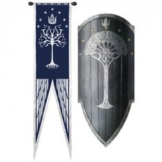 Shield of Gondor with White Gondorian Tree. Lord od the Rings armor, shields and coat of arms.