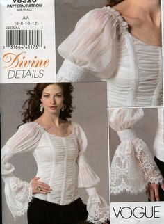 af5095e25a5af4 Vogue 8326 Pattern Romantic Blouse w Boning Lace Trim