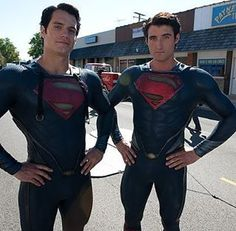 """#HenryCavill with his stuntman for """"Man of Steel"""" --> @diddydarnell"""