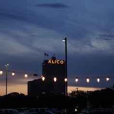 Waco's Alico building at dusk