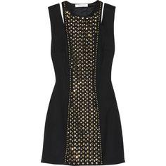 Pierre Balmain Studded stretch-wool mini dress ($526) ❤ liked on Polyvore featuring dresses, vestidos, short dresses, black dresses, black, pierre balmain, pierre balmain dress, studded mini dress and circle dress