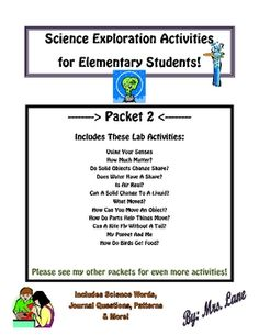 Science Exploration Activities for Elementary Students-Packet 2 of 3