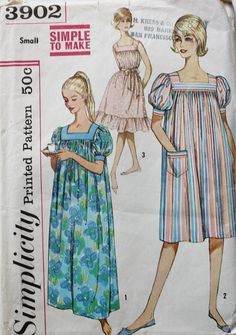 Vintage Sewing Pattern 1960s Muu Muu Dress and Nightgown Size Small Simplicity 3902