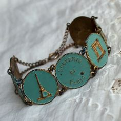 Antique French Enamel Souvenir Bracelet