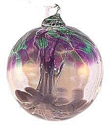 2½'' Spirit Tree Violet and Green Friendship Witch Ball Suncatcher Ornament ... Made with recycled glass! $18 at Kugel Cottage