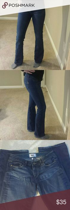 """PAIGE Skyline Boot Jeans Nice stretch and flattering fit, bootcut PAIGE jeans. Minimal signs of wear on bottom cuffs. Overall in great condition. Size 27 (I'm a3/4 to 5/6 and they fit well). 32"""" inseam. Made of Cotton, Polyester and Elastane. *Smoke free home* Paige Jeans Jeans Boot Cut"""