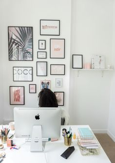 My wall of frames - My Trendy Lifestyle Office Ideas For Work Business Decor, Home Office, Hallway Office, Office Desk, Baby Bedroom, Bedroom Wall, Uni Room, Living Room Pictures, Inspiration Wall