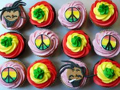 Rasta Cupcakes! Minus the cigaret these cupcakes are so cute!
