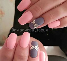 Matte pink and gray nails