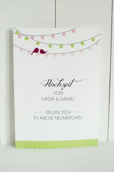 Hochzeitsdeko - 60x Kirchenheft für Hochzeit »Lovebirds« - ein Designerstück von schneidersfamilybusiness bei DaWanda
