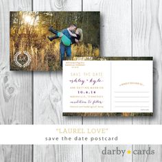 Laurel Love | Photocard Save the Date Postcard | Printed or Printable by Darby Cards on Etsy, $1.80