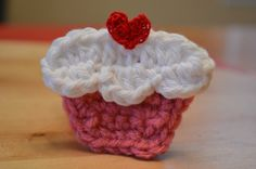 Crochet Hair Clip / Brooch Pin - CUPCAKE with heart cherry. $5.50, via Etsy.