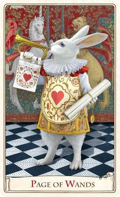 Page of Wands - Alice in Wonderland: The White Rabbit in the Alice Tarot, from Baba Studios.