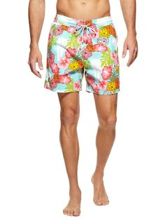Floral print Vilebrequin Moorea men's swim trunks.