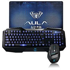 Death Wings Aula Shz Gaming Keyboard And Mouse Combo Backlit Wired Usb With Gaming Mouse Pad Blue, 2015 Amazon Top Rated Gaming Keyboards #PersonalComputer