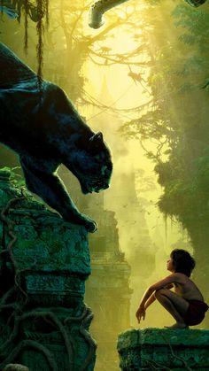 Mowgli looking at Bagheera on this wallpaper from the Jungle Book Arte Disney, Disney Magic, Disney Art, Disney Movies, Jungle Book Snake, Jungle Book 2016, The Jungle Book, Et Wallpaper, Disney Wallpaper