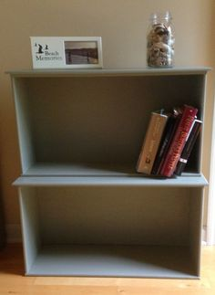 vintage drawers repurposed into a book shelf