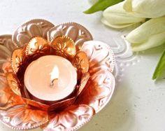 Copper Coloured Lotus Flower Tea Light Holder by FoilingInLove