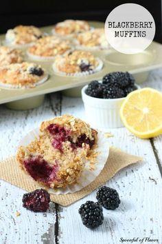 Blackberry Muffins - whole wheat muffins bursting with fresh blackberries! #breakfast #wholewheat #muffins