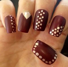 Brown and gold nails
