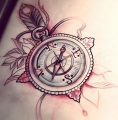 The Best Compass Tattoo Designs, Ideas and Images with meaning and drawings. Compass tattoos inspirations are beautiful for the forearm, wrist or back. Tattoo Dotwork, Hannya Tattoo, Tattoo On, Piercing Tattoo, Tattoo Drawings, Piercings, Trendy Tattoos, Love Tattoos, Beautiful Tattoos