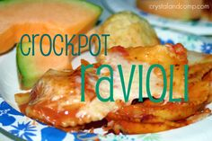crockpot ravioli -- so simple and so delicious!  we think one jar of spaghetti sauce is not quite enough, though.