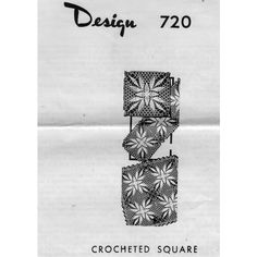 Laura Wheeler 720 Crocheted Square Pattern.  An attractive motif for crochet bedspreads, cloths and more.    This pattern, in PDF format, is available at Vintage Knit Crochet Pattern Shop.