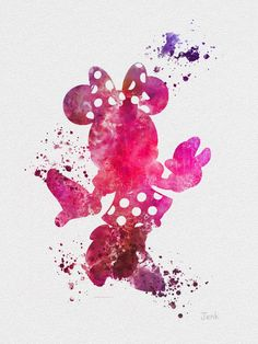 "Minnie Mouse ART PRINT 10 x 8"" illustration, Disney, Mixed Media, Home Decor, Nursery, Kid"
