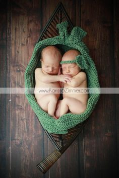 Newborn Twin Pea in a Pod Cocoon Photography by LilKahunaCrochet, $45.00