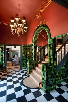 Green-glazed tiles were purpose-made at the Cullinan Refractory for the skirtings, cornices and arches of the striking entrance hall. Art Nouveau Architecture, Interior Architecture, Interior Design, Cornices, Glazed Tiles, Examples Of Art, Love Your Home, Entrance Hall