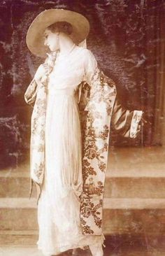 Lucile (Lady Duff Gordon) coat and dress, c. 1910, dress with Asian print silk shawl