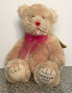 Godiva Chocolates Gund 2009 Teddy Bear With Gold Wings Brown Plush Stuffed 46610 #GUND