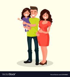 Dad daughter and pregnant mother vector image on VectorStock Young Family, Family Guy, Iphone Wallpaper Landscape, Family Vector, Cartoon Wallpaper Hd, Pregnant Mother, Dad Daughter, Single Image, Mother And Child