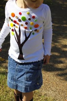 fall tree shirt with buttons