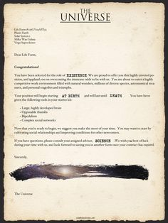 Contract with the Universe