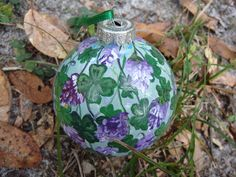Hand Painted Glass Ornament with Four leaf by ADragonflysFancy, $12.00