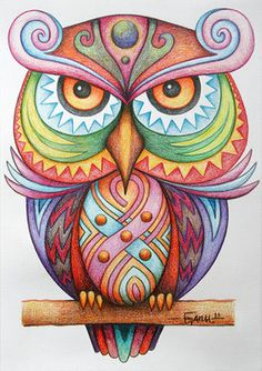 """Knowing yourself is the beginning of all wisdom."" ― Aristotle The Vigilant by Jose-Garel-Alvoeiro Owl Wal Art, Doodles, Art Plastique, Bird Art, Doodle Art, Owl Doodle, Colored Pencils, Colored Pencil Artwork, Painted Rocks"