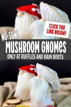 Handmade Christmas Crafts, Holiday Crafts, Fun Crafts, Mushroom Crafts, Christmas Gnome, Christmas Candles, Gold Christmas, Scandinavian Gnomes, Theme Noel