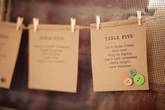 wedding table cards, Love the buttons!