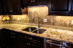 Mottled white granite countertop. From a recent installation in the North Hills of Pittsburgh.