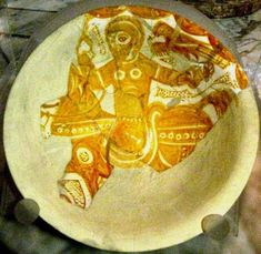 Damaged Fatimid bowl with a hunter on horse