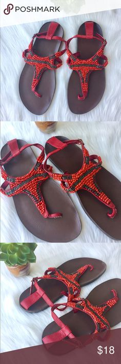 Beaded Sandals Red & Brown - size 8 Beaded Women Sandals Size 8 - excellent condition all beads are on the shoes with an silver ankle strap.  Beads are brilliant red & brown in color with a wonderful design.        🤔 Ask any & all questions ✅Use Offer Button 💯Authentic  🚭& 🐶😺🐠Free Home 🚫Trades/Offline Transactions 📦Bundle & Save Shoes Sandals