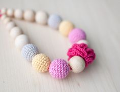 Teething necklace / Crochet nursing necklace - Shades of pink, Yellow, Grey. $23.00, via Etsy.