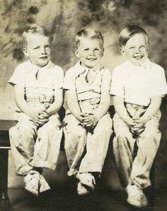 Vintage Photo, Studio Portrait,Three Darling Boys,1939,Cedar Rapids, Iowa,ID'd