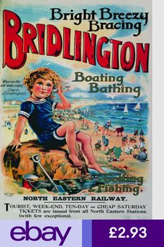 Mixed Media - Bridlington, England - Retro Travel Advertising Poster - Vintage Poster - Little Boy On The Beach by Studio Grafiikka , Posters Uk, Railway Posters, Poster Prints, Train Posters, Art Print, Movie Posters, British Travel, British Seaside, Seaside Art