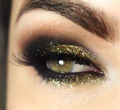 Trendy Makeup Tips Mascara Faces Eye Makeup Glitter, Glitter Brows, Prom Makeup, Hair Makeup, Gold Glitter, Sparkle Makeup, Gold Gold, Black Gold, No Make Up Make Up Look