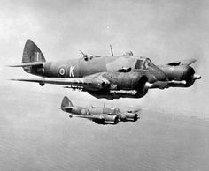 Bristol Beaufighters of No 272 Squadron RAF in flight over Malta - Mk VIC X8079 code 'K', behind Mk IC T5043 'V' 1943