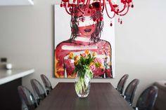1/2 Brodie Street, Paddington #colourpop #red #art #chandelier #diningroom