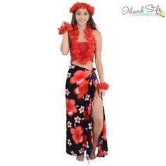 5cb79689a Ladies Red Maxi Layer Dress   Hawaiian Lei Set Luau Costume